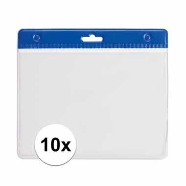 10 blauwe naamkaartjes houders blauw 11,5 x 9,5 cm