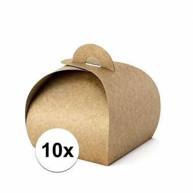 10 bruiloft bedankjes doosjes bruin 8,5 cm