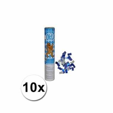 10 confetti kanonnen in de kleur blauw/wit
