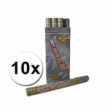 10 confetti shooters 60 cm zilver