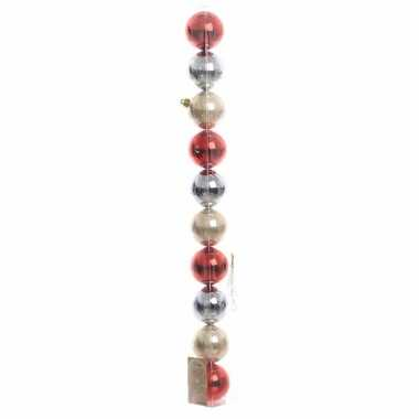 10-delige kerstballen set blauw/rood