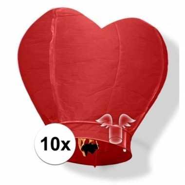 10 hartvormige wensballonnen rood 100 cm
