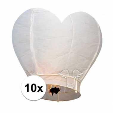 10 hartvormige wensballonnen wit 100 cm