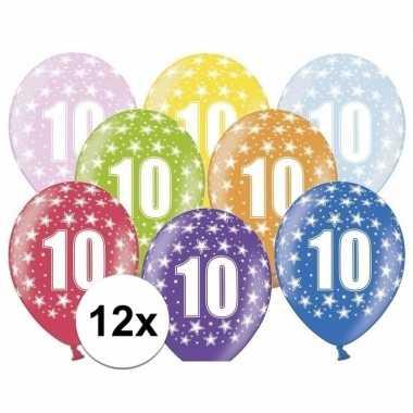 10 jaar ballonnen met sterren 12 stuks