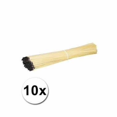 10 lampionstokjes van hout
