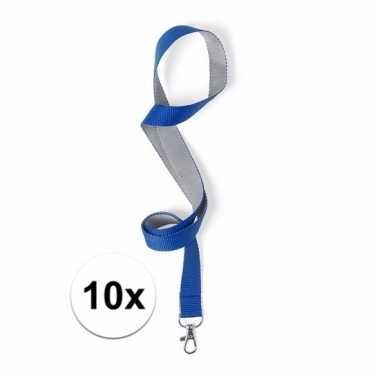 10 lanyards blauw/grijs 2 x 50 cm
