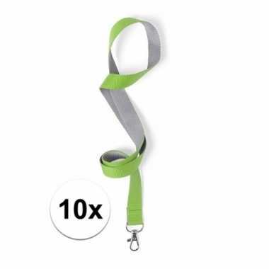 10 lanyards groen/grijs 2 x 50 cm