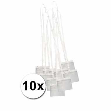 10 lanyards incl. naamkaartjes houders wit 11,2 x 58 cm