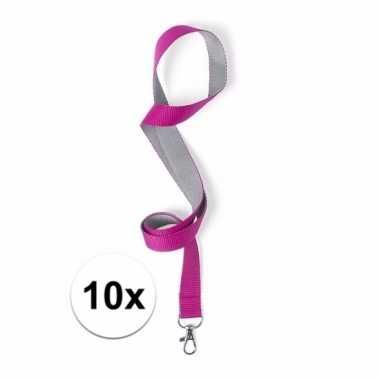 10 lanyards roze/grijs 2 x 50 cm