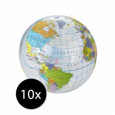 10 opblaasbare strandballen globe