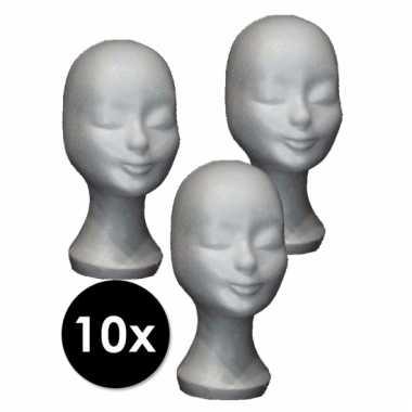 10 paspop hoofden van piepschuim