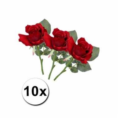 10 rode kunst rozen 30 cm