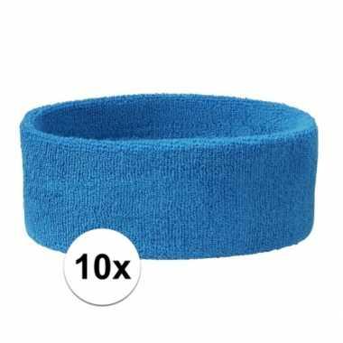 10 stuks aqua blauwe hoofd zweetbandjes