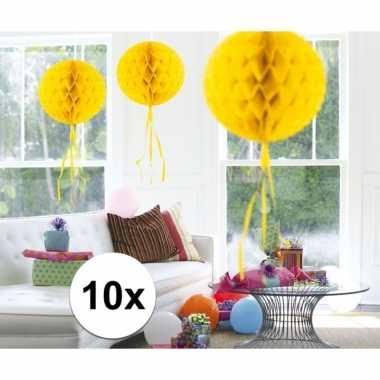 10 stuks decoratie ballen geel 30 cm