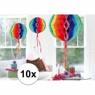 10 stuks decoratie ballen gekleurd 30 cm