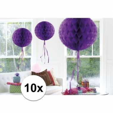 10 stuks decoratie ballen paars 30 cm