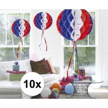 10 stuks decoratie ballen usa gekleurd 30 cm