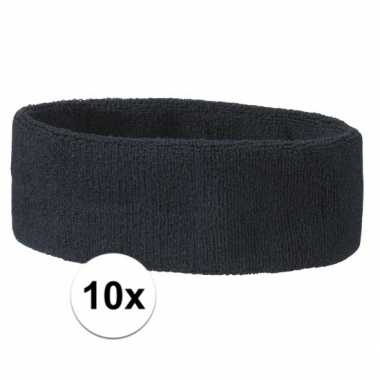 10 stuks donkerblauwe hoofd zweetbandjes