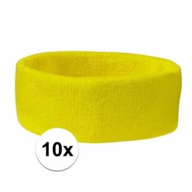 10 stuks gele hoofd zweetbandjes