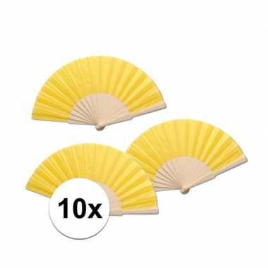 10 stuks gele waaier van hout