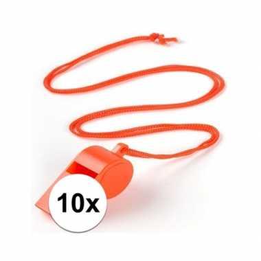10 stuks voordelige plastic fluitjes oranje