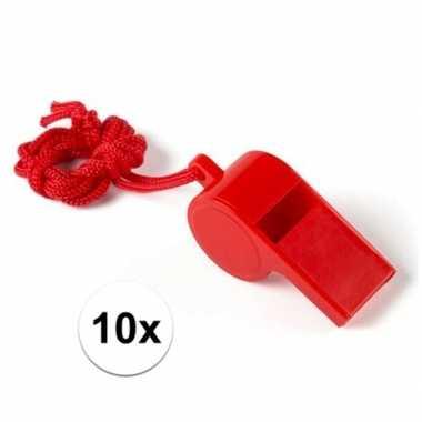 10 stuks voordelige plastic fluitjes rood