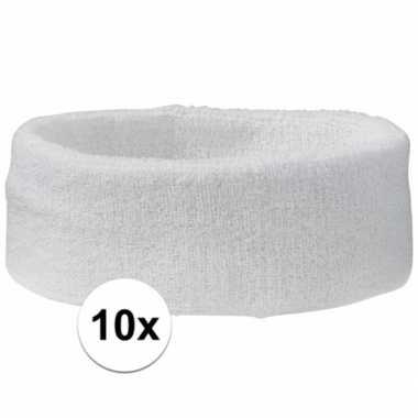 10 stuks witte hoofd zweetbandjes