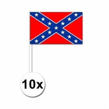 10 stuks zwaaivlaggetjes confederatie