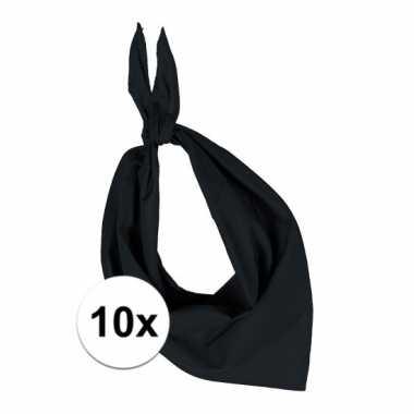 10 stuks zwart hals zakdoeken bandana style