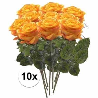 10 x kunstbloemen steelbloem geel/oranje roos simone 45 cm