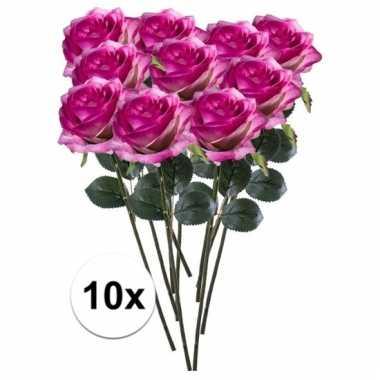 10 x kunstbloemen steelbloem paars/roze roos simone 45 cm