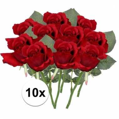 10 x kunstbloemen steelbloem rode roos 30 cm