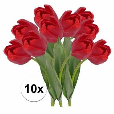 10 x kunstbloemen steelbloem rode tulp 48 cm