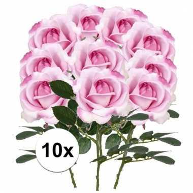 10 x kunstbloemen steelbloem roze roos carol 37 cm