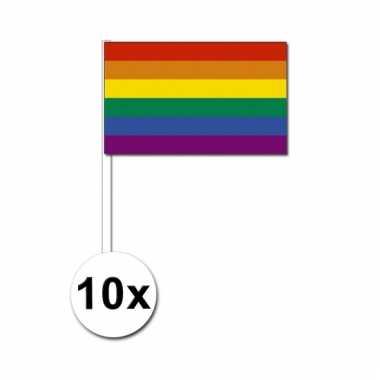 10 zwaaivlaggetjes met regenboog