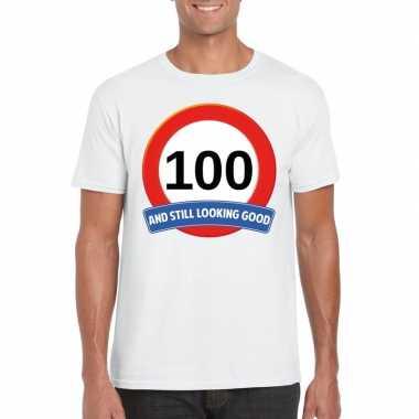 100 jaar verkeersbord t-shirt wit heren