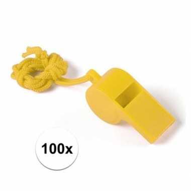 100 stuks voordelige plastic fluitjes geel