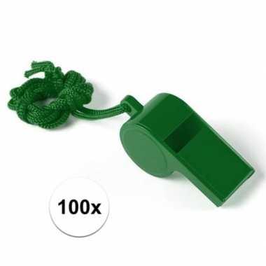 100 stuks voordelige plastic fluitjes groen