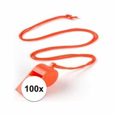 100 stuks voordelige plastic fluitjes oranje