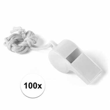 100 stuks voordelige plastic fluitjes wit