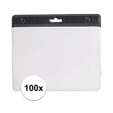 100 zwarte naamkaartjes houders zwart 11,5 x 9,5 cm