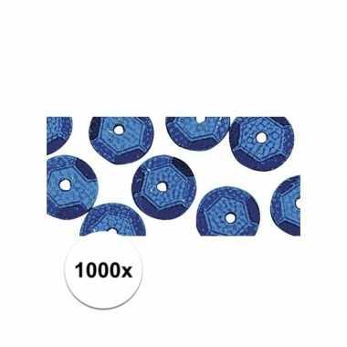 1000x blauwe pailletten 6 mm