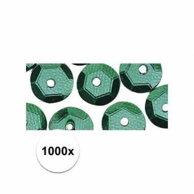 1000x knutselpailletten groen 6 mm