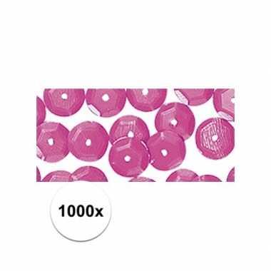 1000x knutselpailletten roze 6 mm