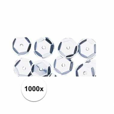 1000x zilveren pailletten 6 mm