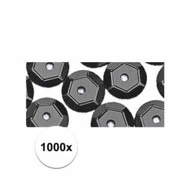 1000x zwarte pailletten 6 mm