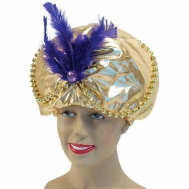 1001 nacht gouden sultan hoed met veer