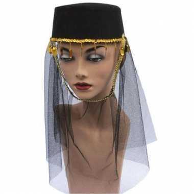 1001 nacht zwarte harem hoed met sluier