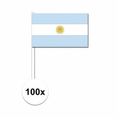100x argentinie decoratie papieren zwaaivlaggetjes