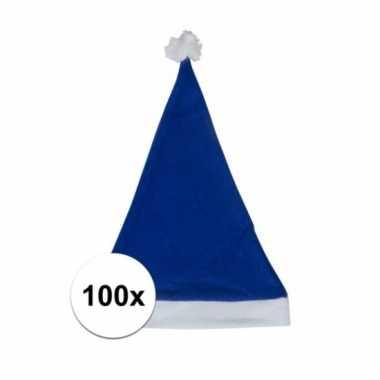 100x blauwe budget kerstmuts voor volwassenen